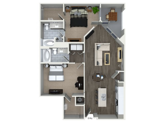 1,233 sq. ft. B3 floor plan