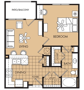 705 sq. ft. to 725 sq. ft. Magnolia floor plan