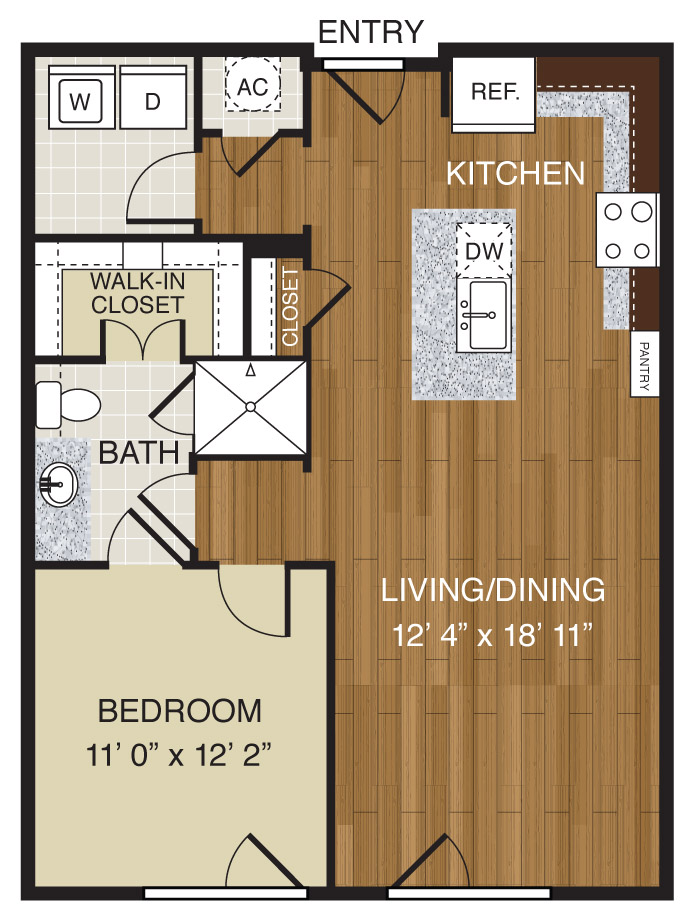 716 sq. ft. A2.1b floor plan