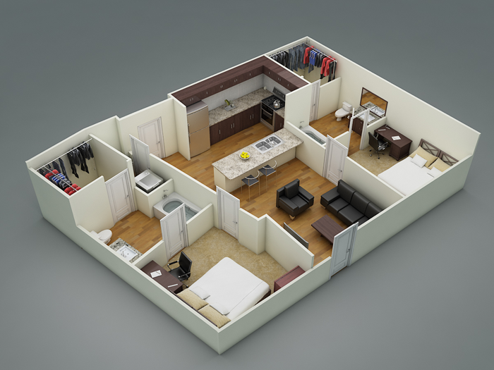 853 sq. ft. B2a2 floor plan