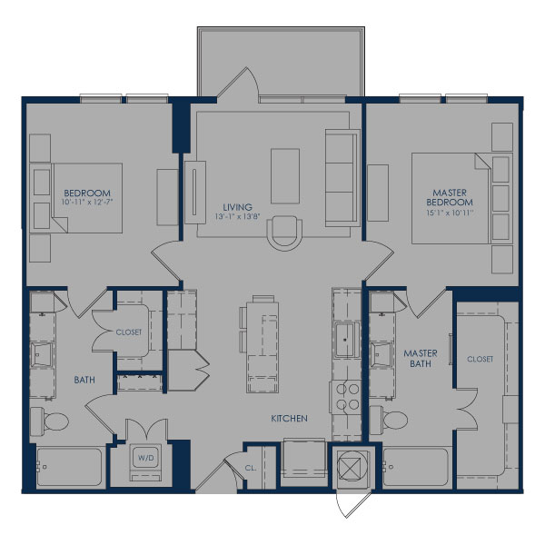 1,026 sq. ft. to 1,059 sq. ft. B36 floor plan