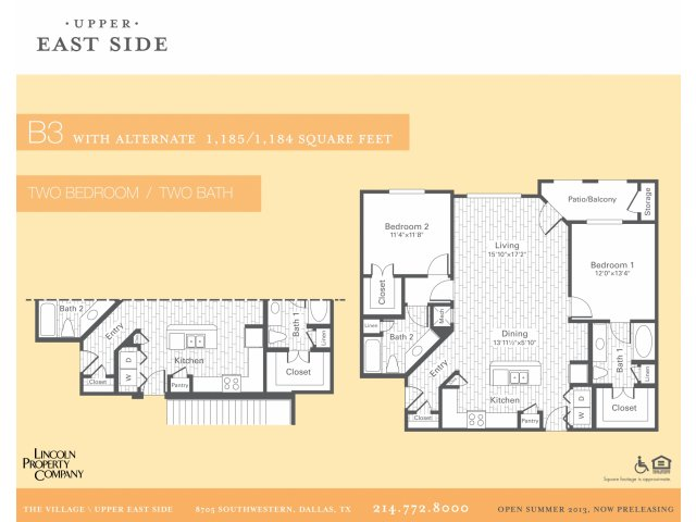 1,185 sq. ft. B3G floor plan