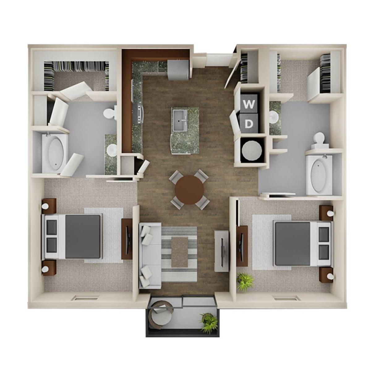 1,099 sq. ft. 2AA floor plan