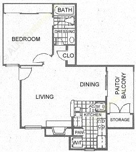 628 sq. ft. A3 floor plan