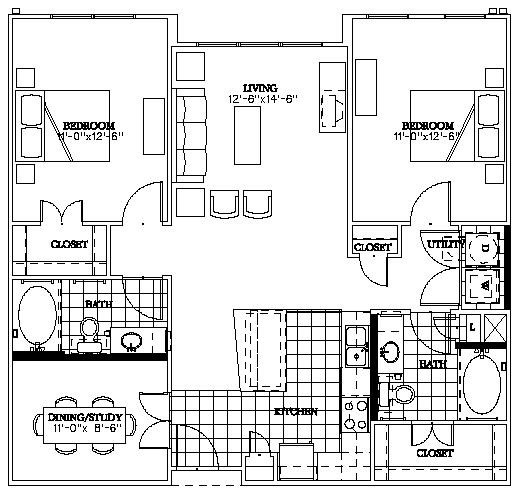 1,121 sq. ft. Lemmon floor plan