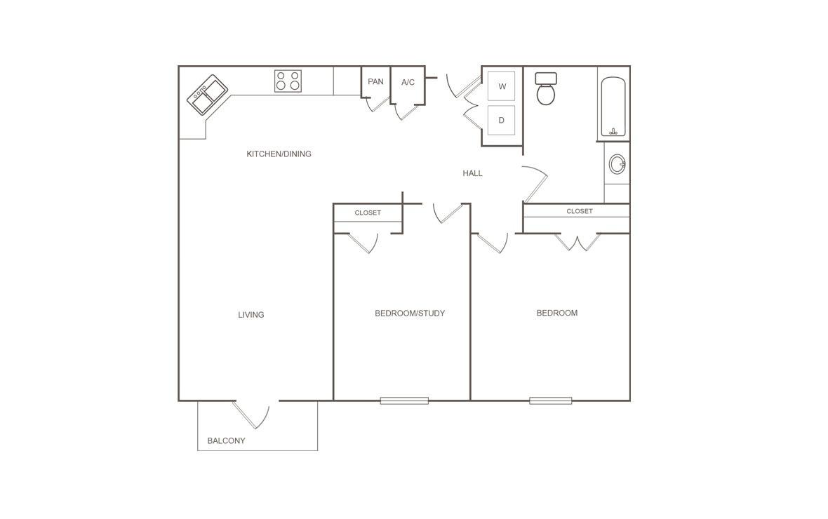 936 sq. ft. A/50% floor plan