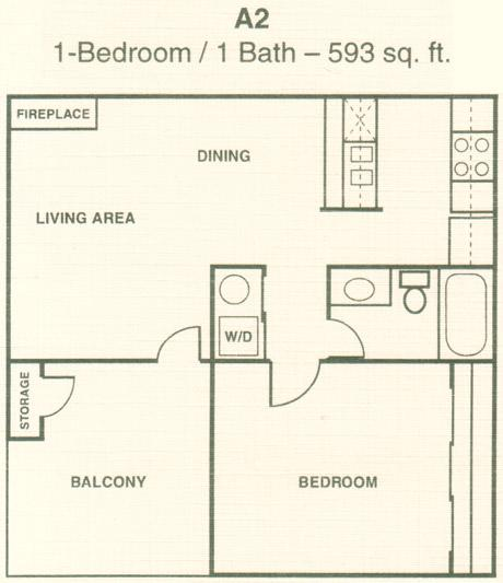 593 sq. ft. A2 floor plan