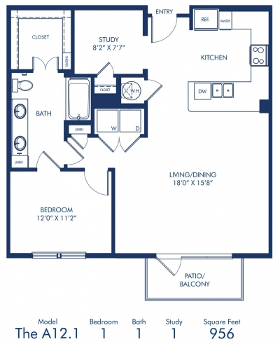 958 sq. ft. A12.1 floor plan