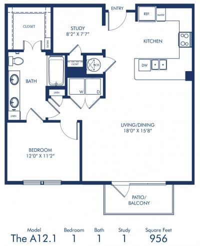 958 sq. ft. A12.1 floor plan