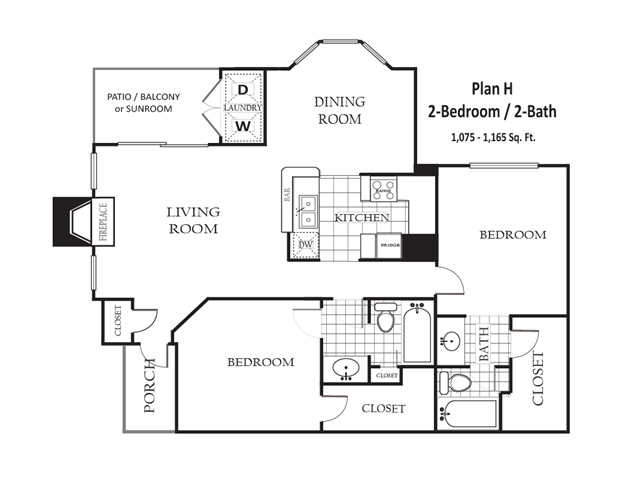 1,075 sq. ft. to 1,165 sq. ft. H floor plan
