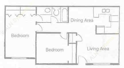 798 sq. ft. B-1 floor plan