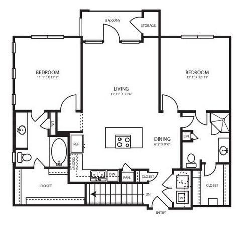 1,080 sq. ft. B1.1G floor plan