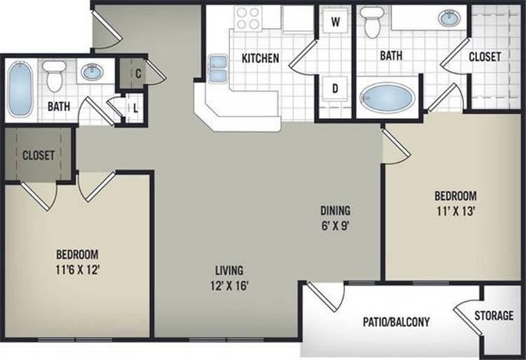 1,045 sq. ft. B1 floor plan