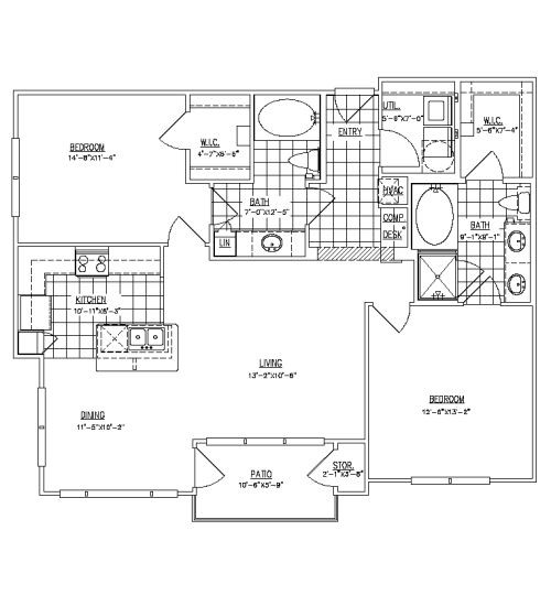 1,165 sq. ft. Ashland floor plan