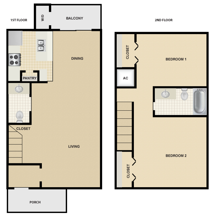 1,024 sq. ft. B5 floor plan