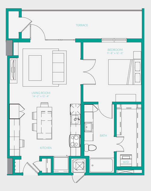 729 sq. ft. A1.10 floor plan