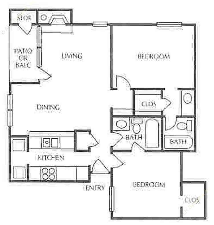 921 sq. ft. B-2 floor plan
