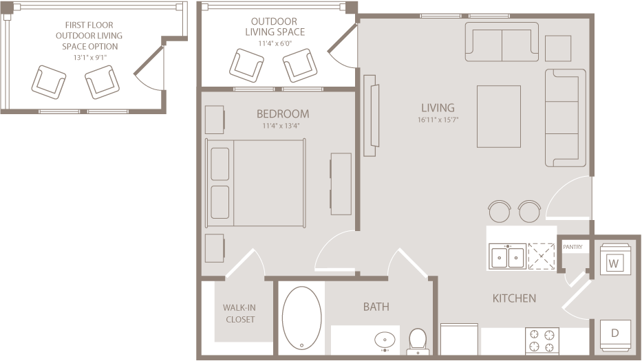 652 sq. ft. Argyle floor plan