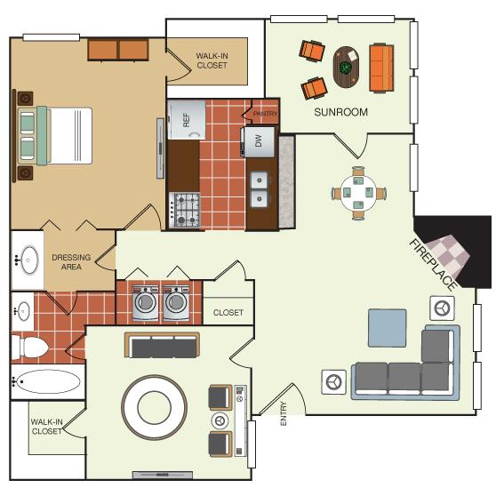 910 sq. ft. 2C floor plan