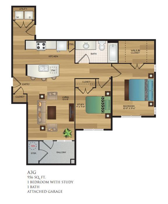 956 sq. ft. A3G floor plan