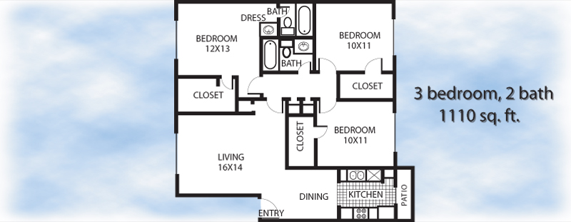 1,110 sq. ft. 3-2 floor plan
