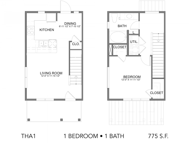 775 sq. ft. THA1 floor plan