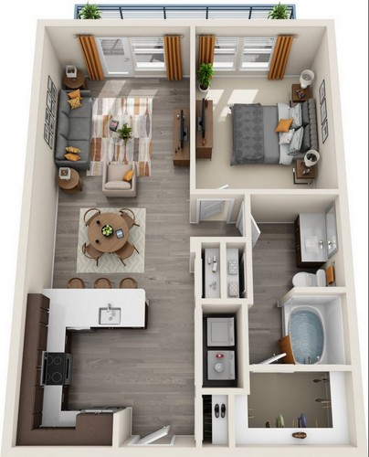 866 sq. ft. A4.1 floor plan