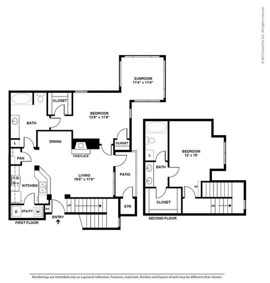 1,307 sq. ft. B5 floor plan