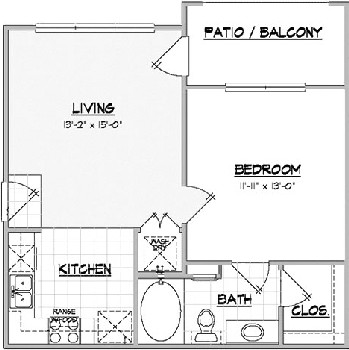 579 sq. ft. MESQUITE floor plan
