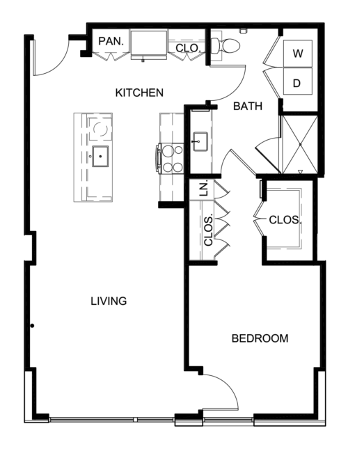 842 sq. ft. A6 floor plan