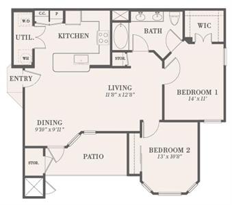 974 sq. ft. Larchmont floor plan