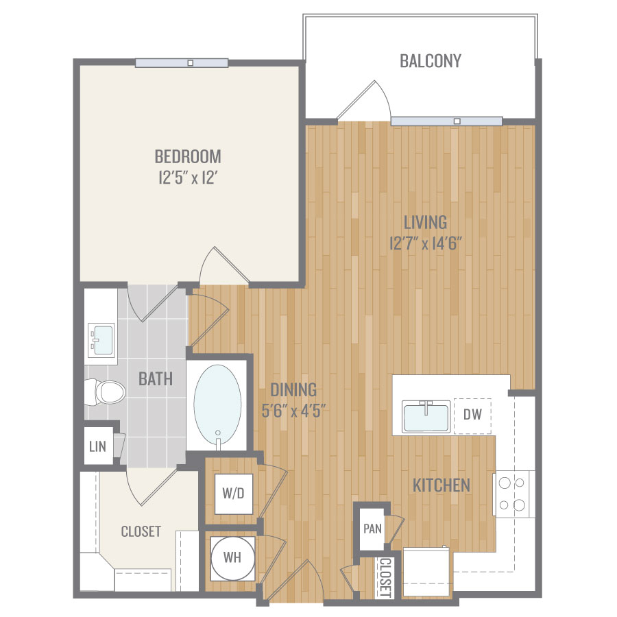743 sq. ft. A7 floor plan