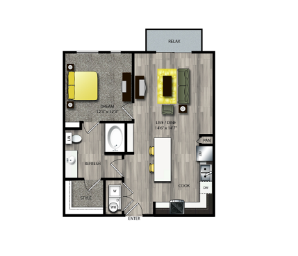 776 sq. ft. A3 floor plan