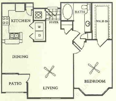 822 sq. ft. A3 floor plan