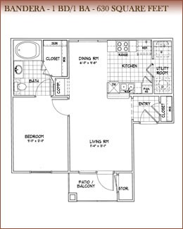 630 sq. ft. Bandera floor plan