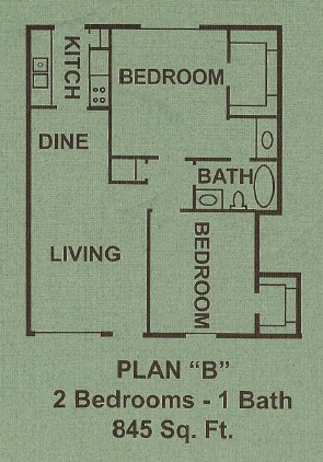 883 sq. ft. B floor plan