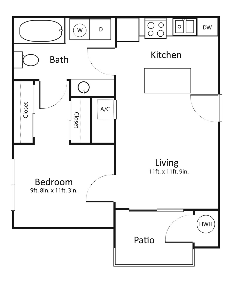 517 sq. ft. A1 floor plan