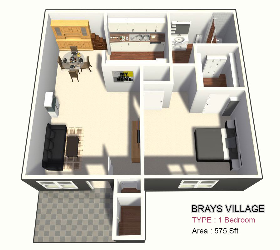 575 sq. ft. A1/A2 floor plan