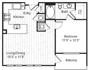697 sq. ft. A0 floor plan