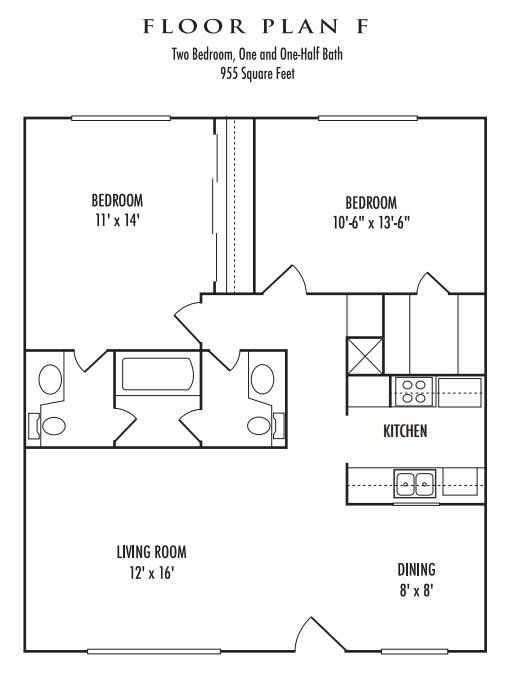 955 sq. ft. F floor plan