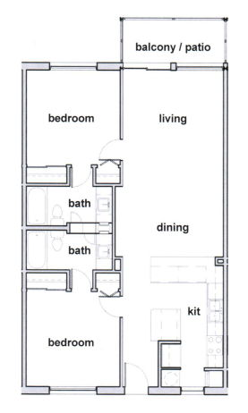 1,047 sq. ft. B2 floor plan