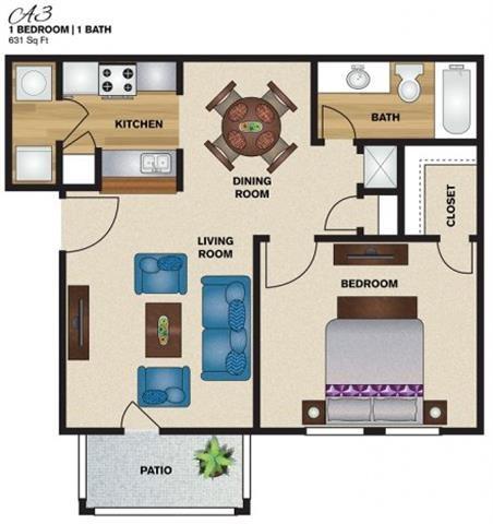 631 sq. ft. A3 floor plan