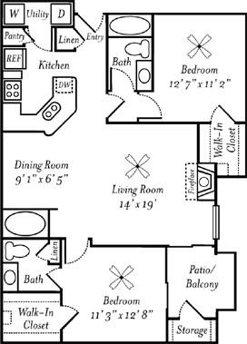 1,058 sq. ft. Bordeaux floor plan