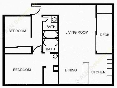 967 sq. ft. A floor plan