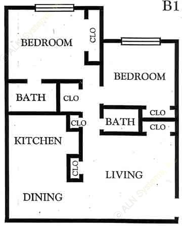 855 sq. ft. B1 floor plan