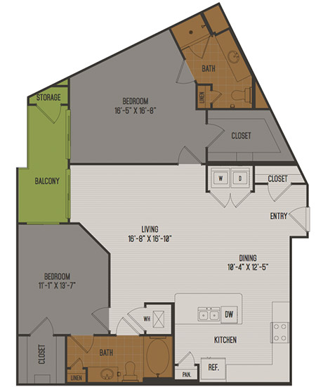 1,282 sq. ft. C5 floor plan