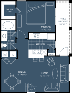 733 sq. ft. to 785 sq. ft. A2 floor plan