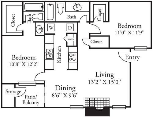 846 sq. ft. B1 floor plan