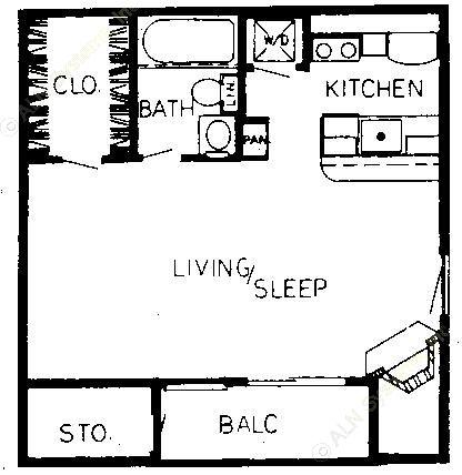 403 sq. ft. A floor plan