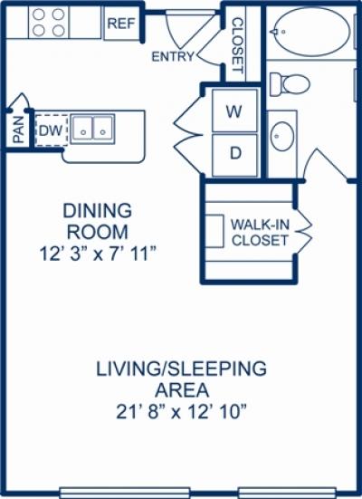 685 sq. ft. ALBUQUERQE floor plan